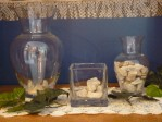Sharon's 3 vases (left to right): Faith Confirmed: miracles, special blessings & answered prayers; Faith Confessed: confidence in what we hope for; and, Faith…Come What May: blank stones for future needs.